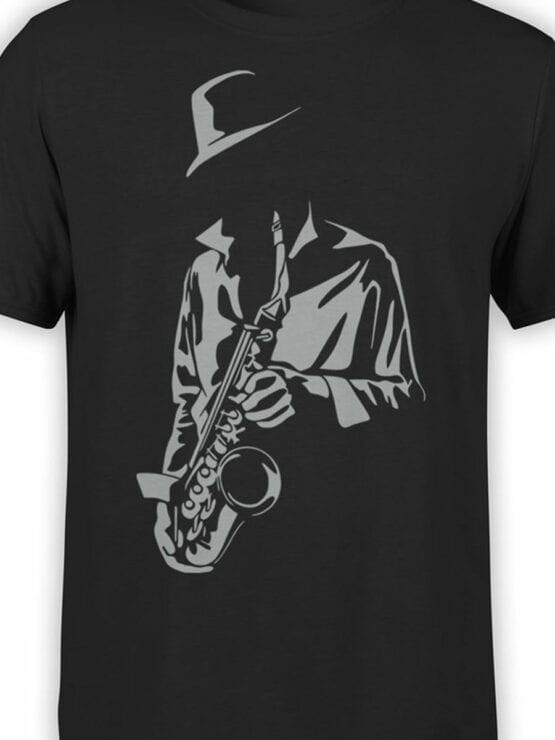 1792 Saxophonist Silhouette T Shirt Front Color