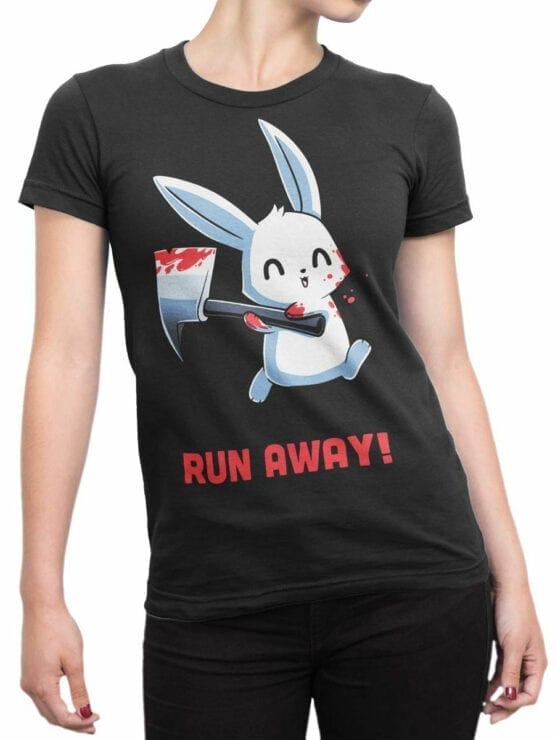 1794 Rabbit Run Away T Shirt Front Woman