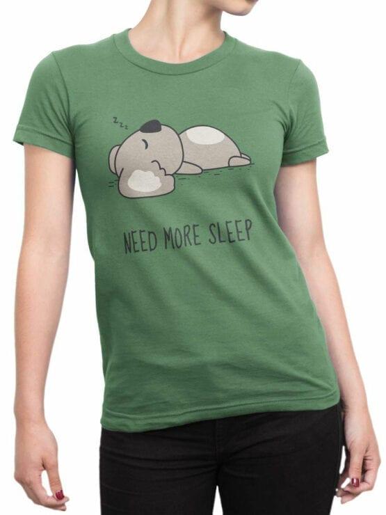 1795 Koala Need For Sleep T Shirt Front Woman