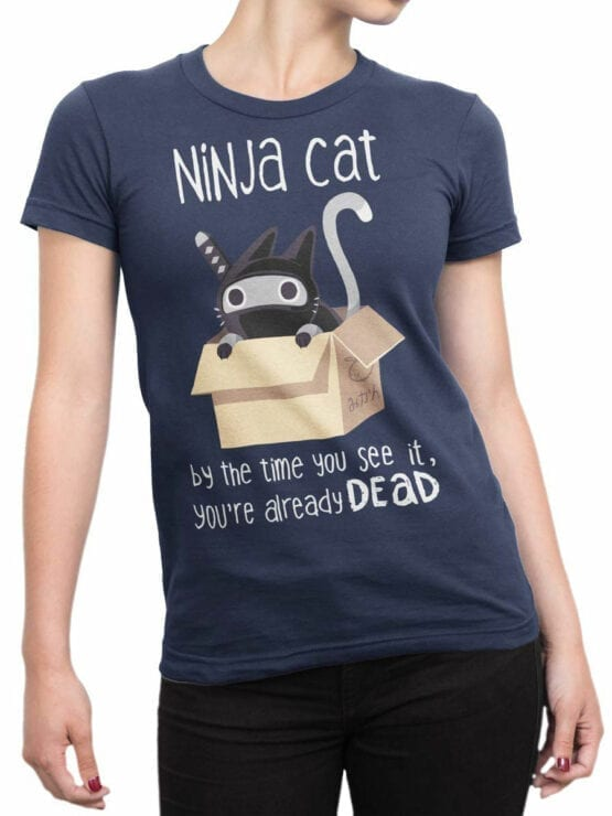 1798 Ninja Cat T Shirt Front Woman