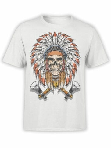 1799 Indian Warrior Skull T Shirt Front