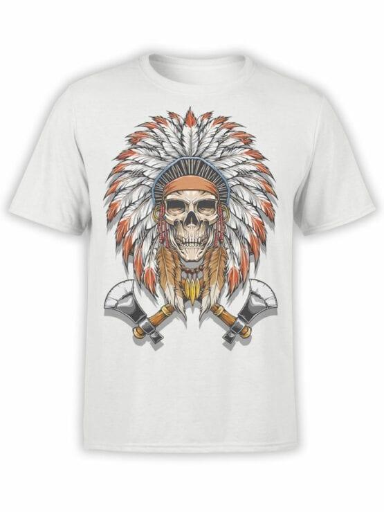 1799 Indian Warrior Skull T Shirt Front