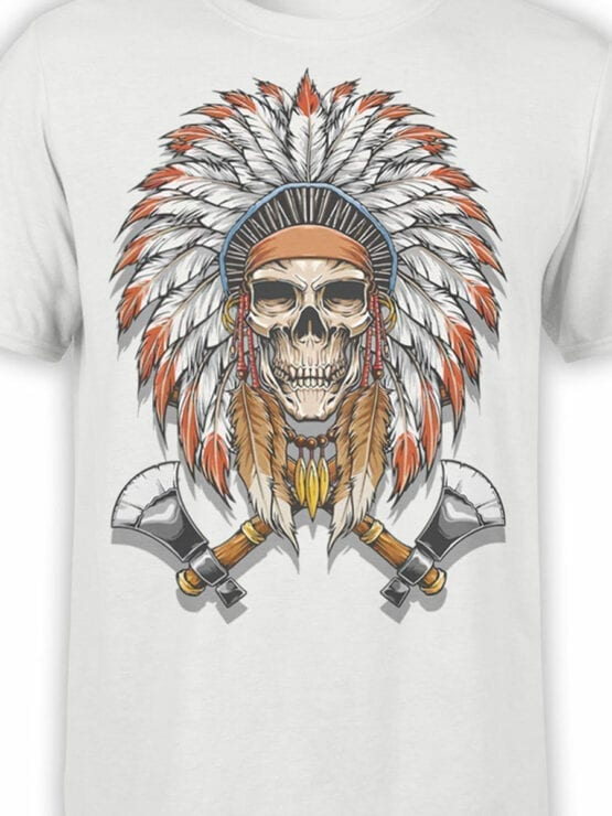 1799 Indian Warrior Skull T Shirt Front Color
