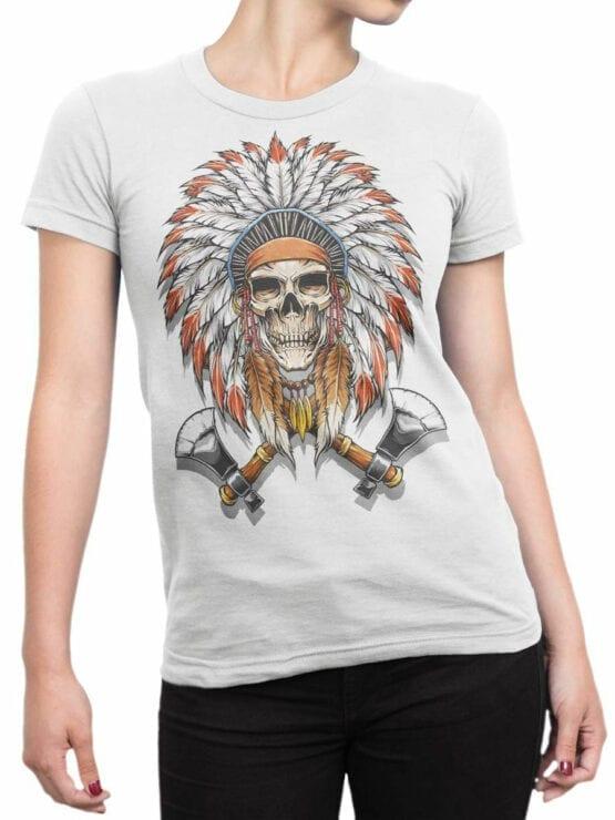 1799 Indian Warrior Skull T Shirt Front Woman
