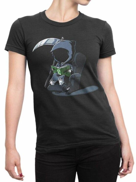 1803 Cute Death T Shirt Front Woman