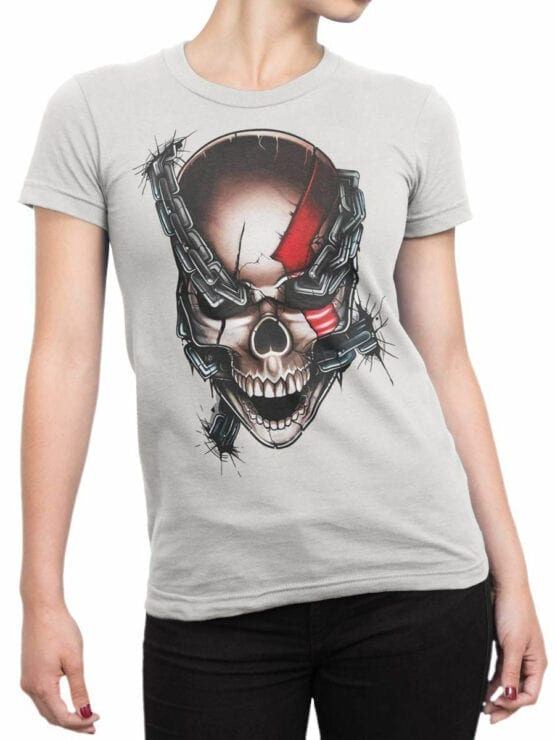 1804 God of War Skull T Shirt Front Woman