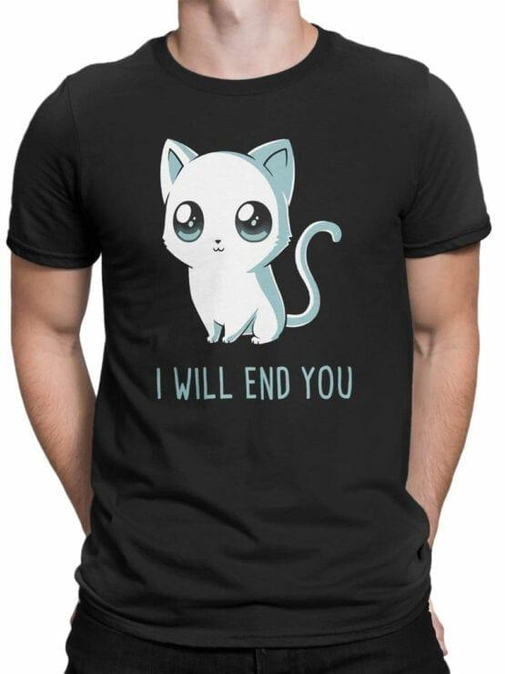 1805 Cute Funny Cat T Shirt Front Man