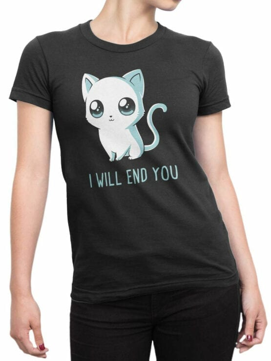 1805 Cute Funny Cat T Shirt Front Woman