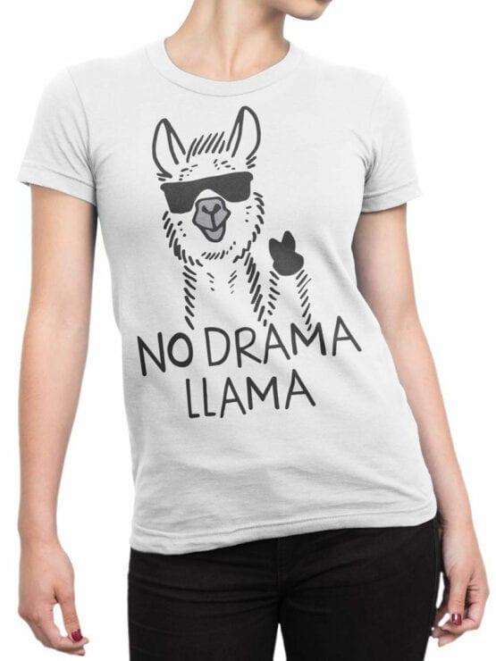 1817 No Drama Llama T Shirt Front Woman
