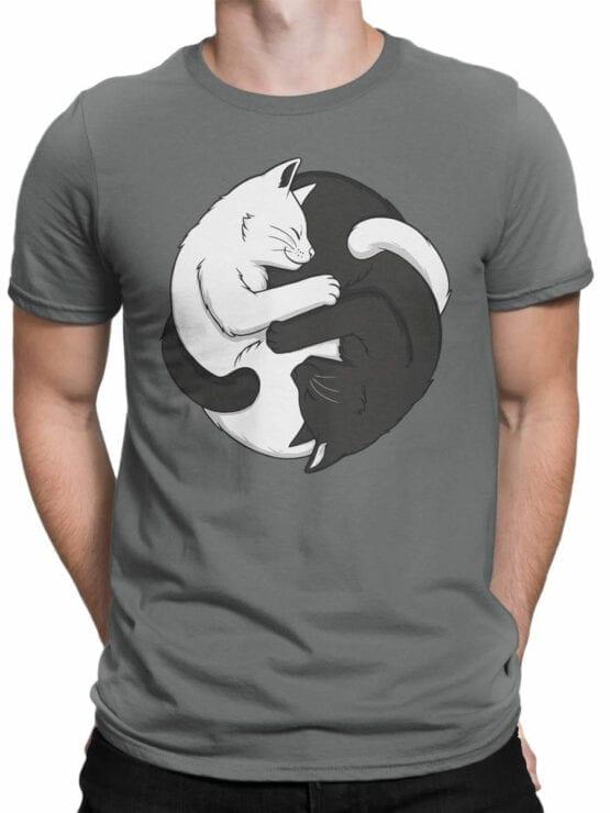 1819 Yin Yang Cats T Shirt Front Man