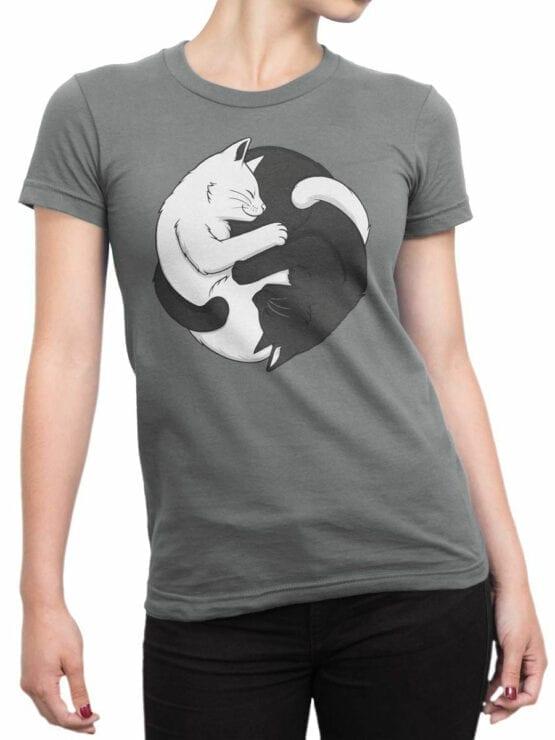 1819 Yin Yang Cats T Shirt Front Woman