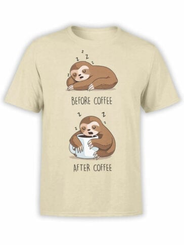 1820 Lazy Sloth Coffee T Shirt Front