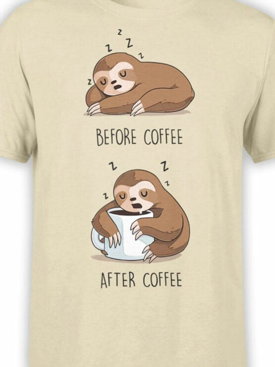 1820 Lazy Sloth Coffee T Shirt Front Color
