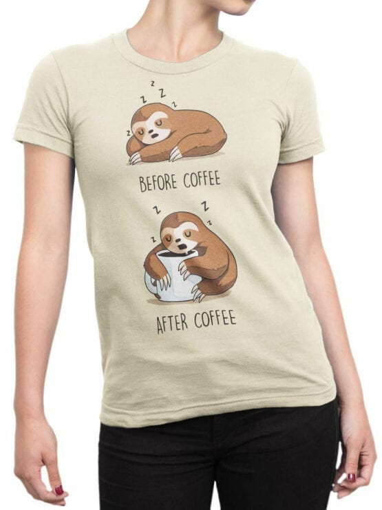 1820 Lazy Sloth Coffee T Shirt Front Woman