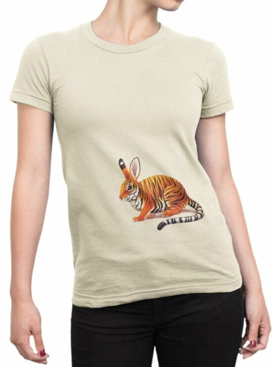 1829 Tiger Rabbit T Shirt Front Woman