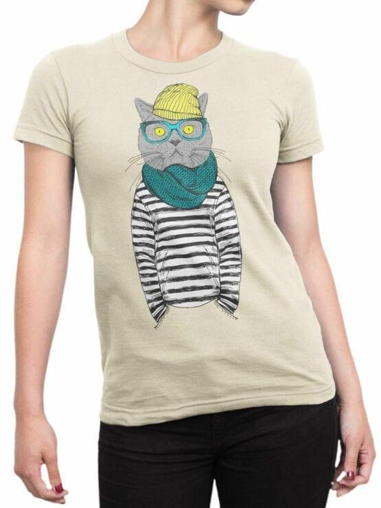 1830 Art Cat T Shirt Front Woman
