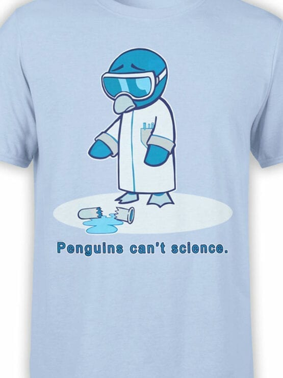 1838 Penguins Science T Shirt Front Color