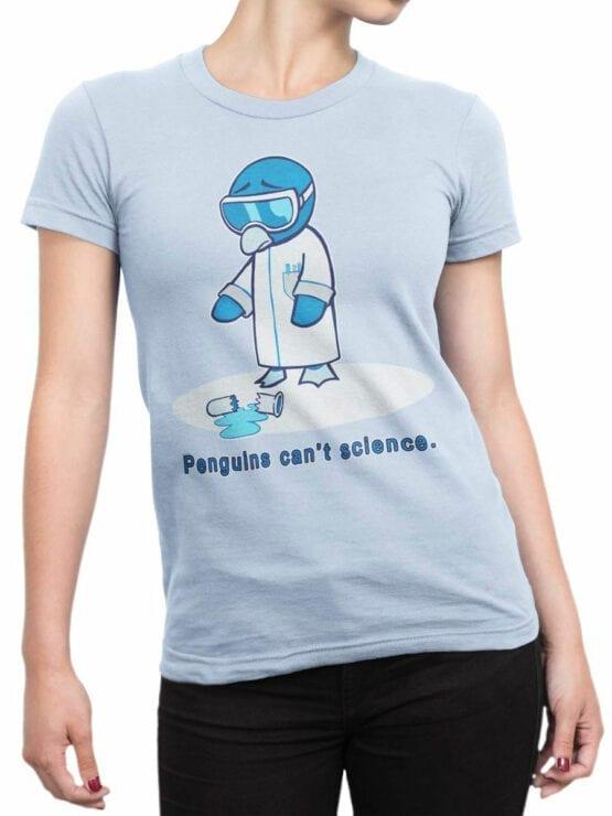 1838 Penguins Science T Shirt Front Woman