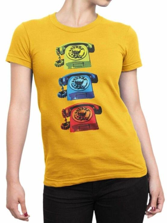 1845 Retro Phones T Shirt Front Woman
