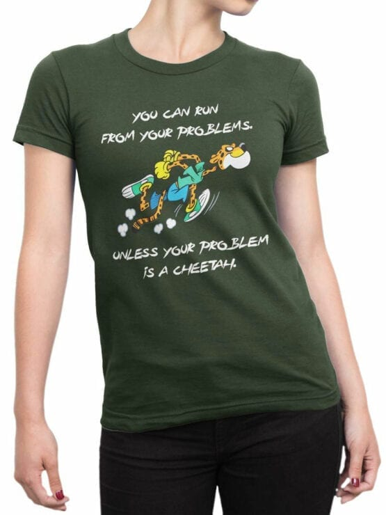 1846 Cheetah Problem T Shirt Front Woman