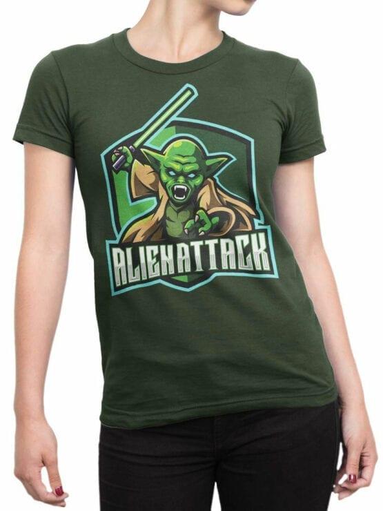 1849 Star Wars T Shirt Alien Attack Front Woman