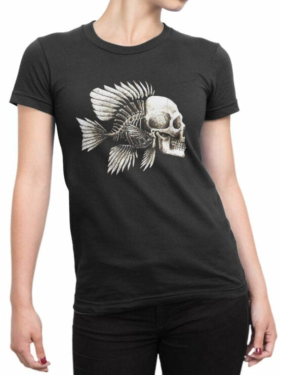 1851 Skull Fish T Shirt Front Woman