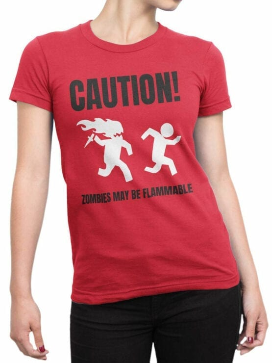 1866 Flammable Zombies T Shirt Front Woman