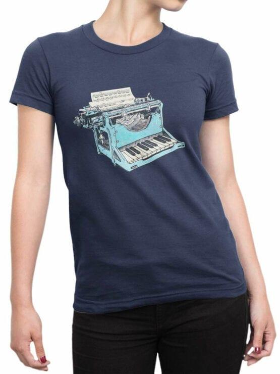 1869 Musical Typewriter T Shirt Front Woman