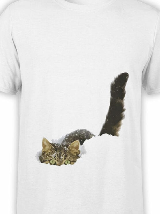 1877 Cat in the Snow T Shirt Front Color
