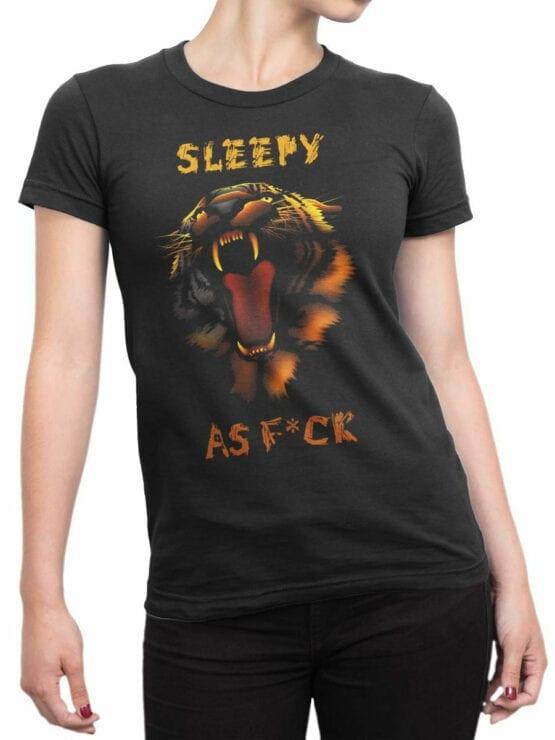 1896 Sleepy Tiger T Shirt Front Woman