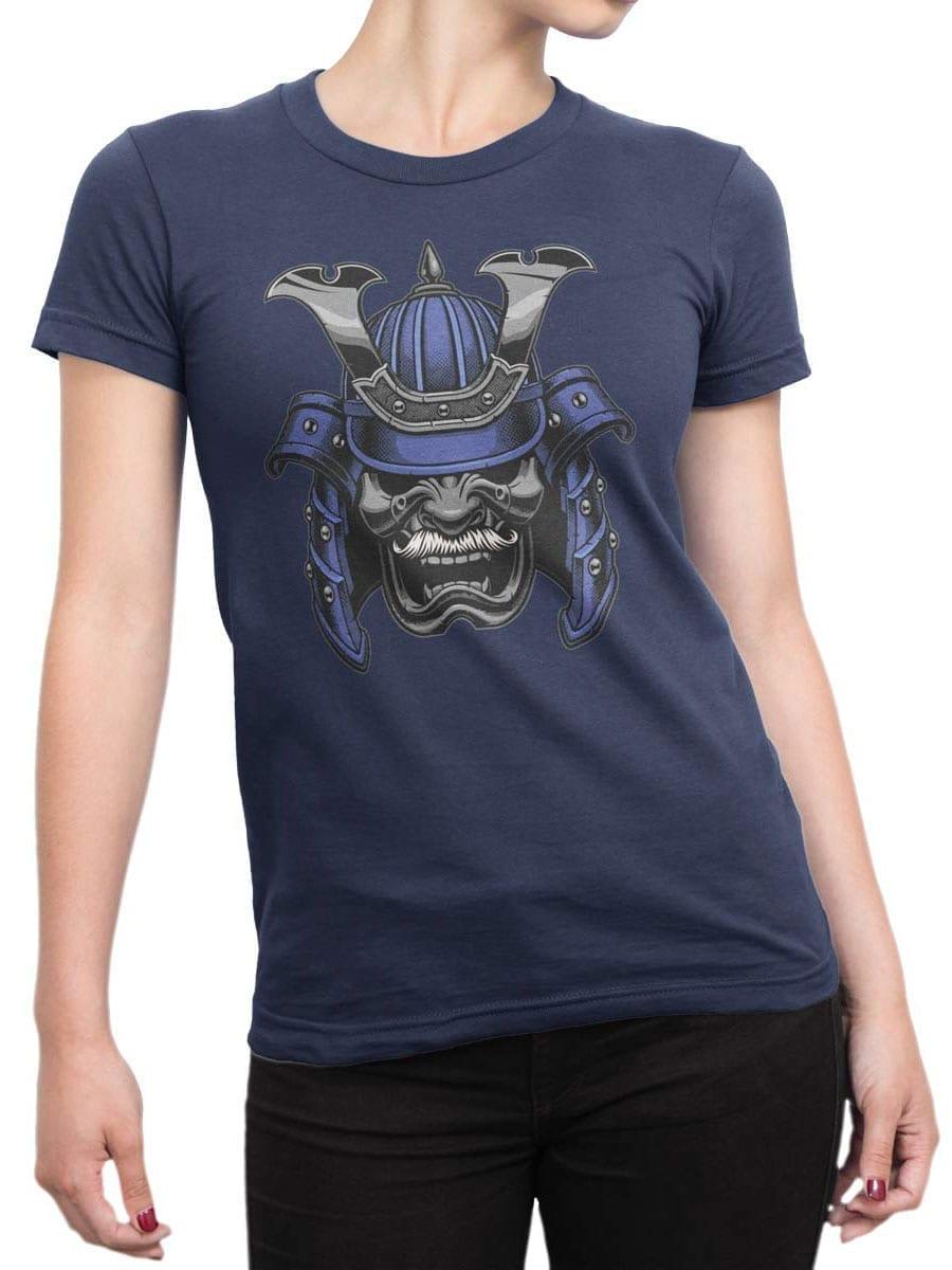 1961 Blue Samurai Mask T Shirt Front Woman