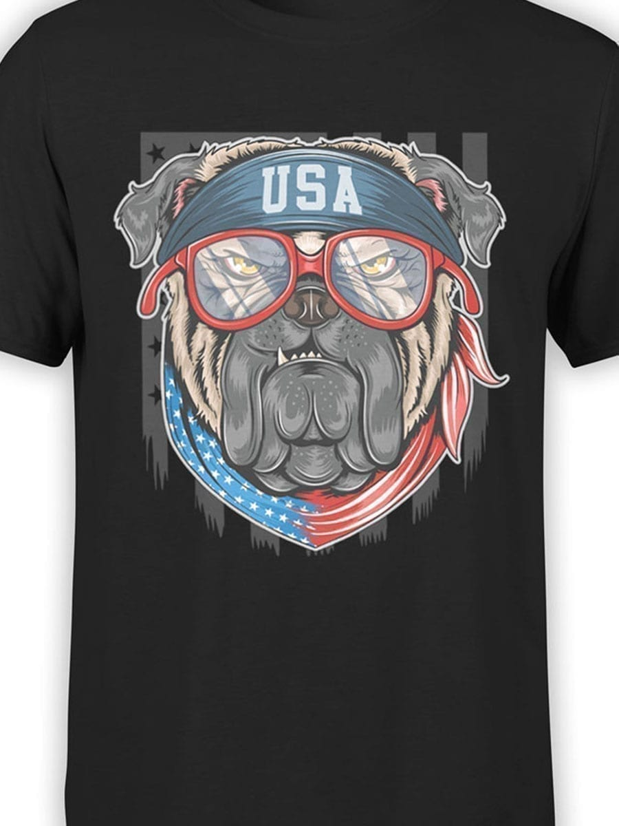 1979 Patriotic Pug T Shirt Front Color