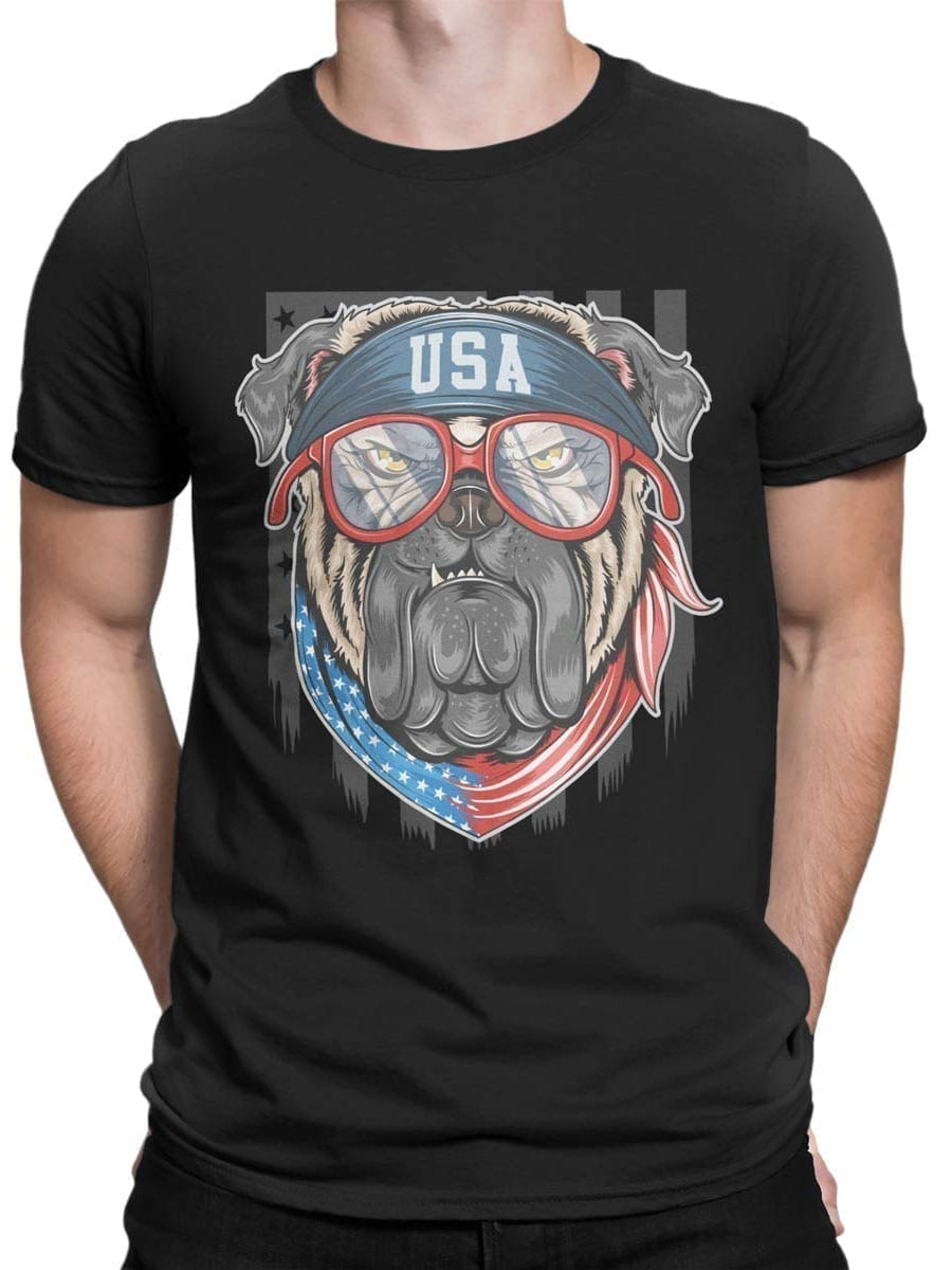 1979 Patriotic Pug T Shirt Front Man