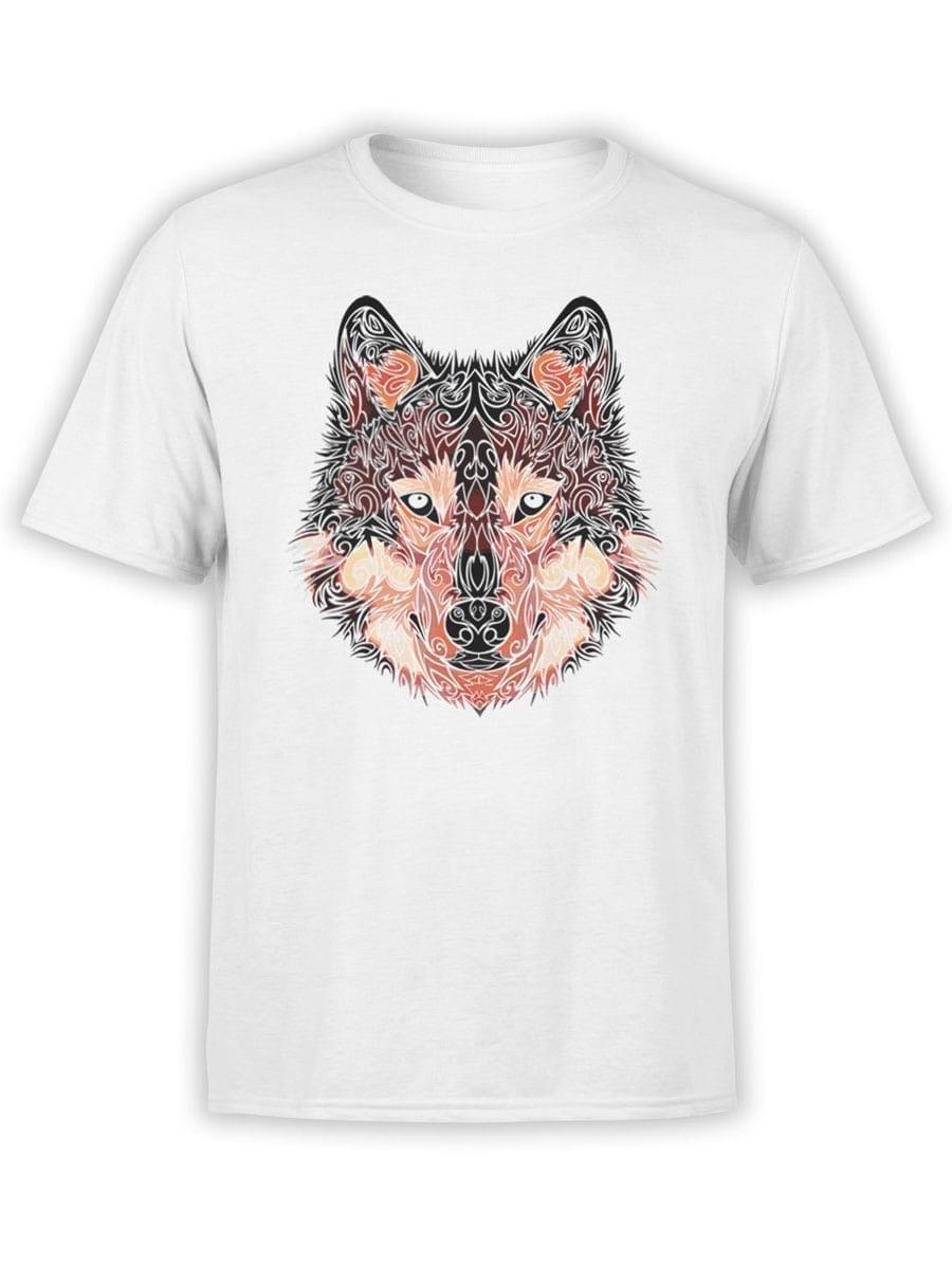 2034 Wolf Line Art T Shirt Front