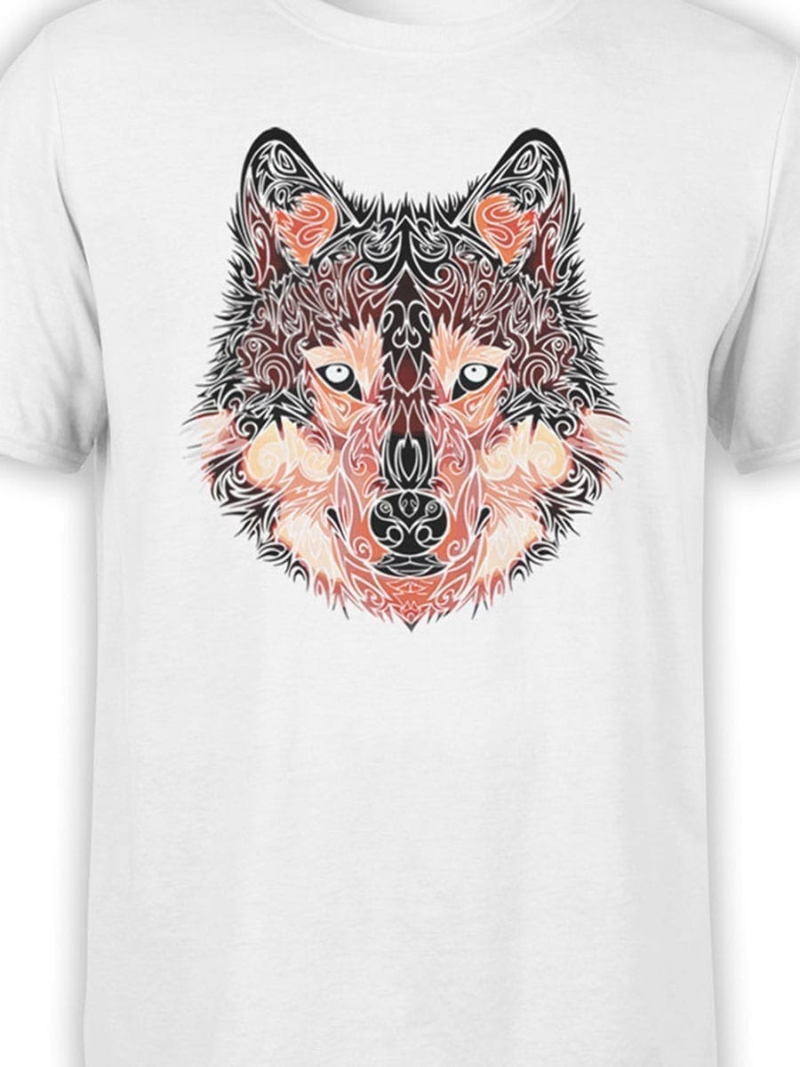 2034 Wolf Line Art T Shirt Front Color