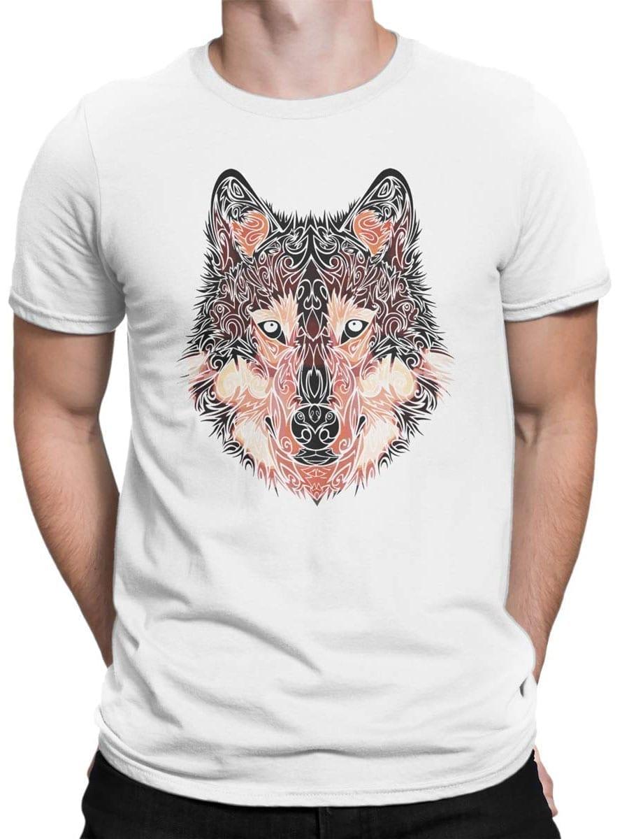 2034 Wolf Line Art T Shirt Front Man