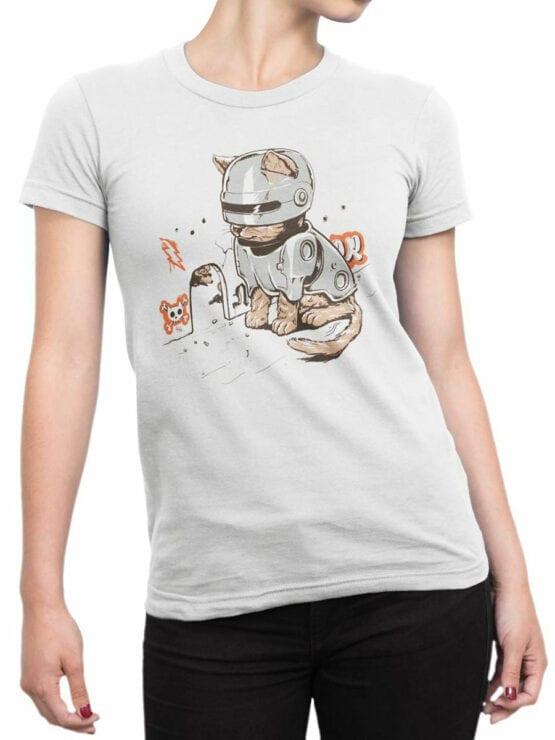 2066 RoboCat T Shirt Front Woman